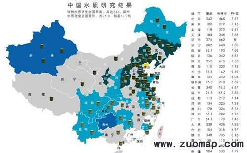 中国水质地图标注用户洗涤习惯