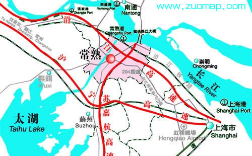 新版常熟交通旅游地图标注出版?