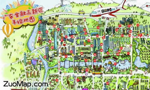 广东金融高新区手绘地图标注正式发布?